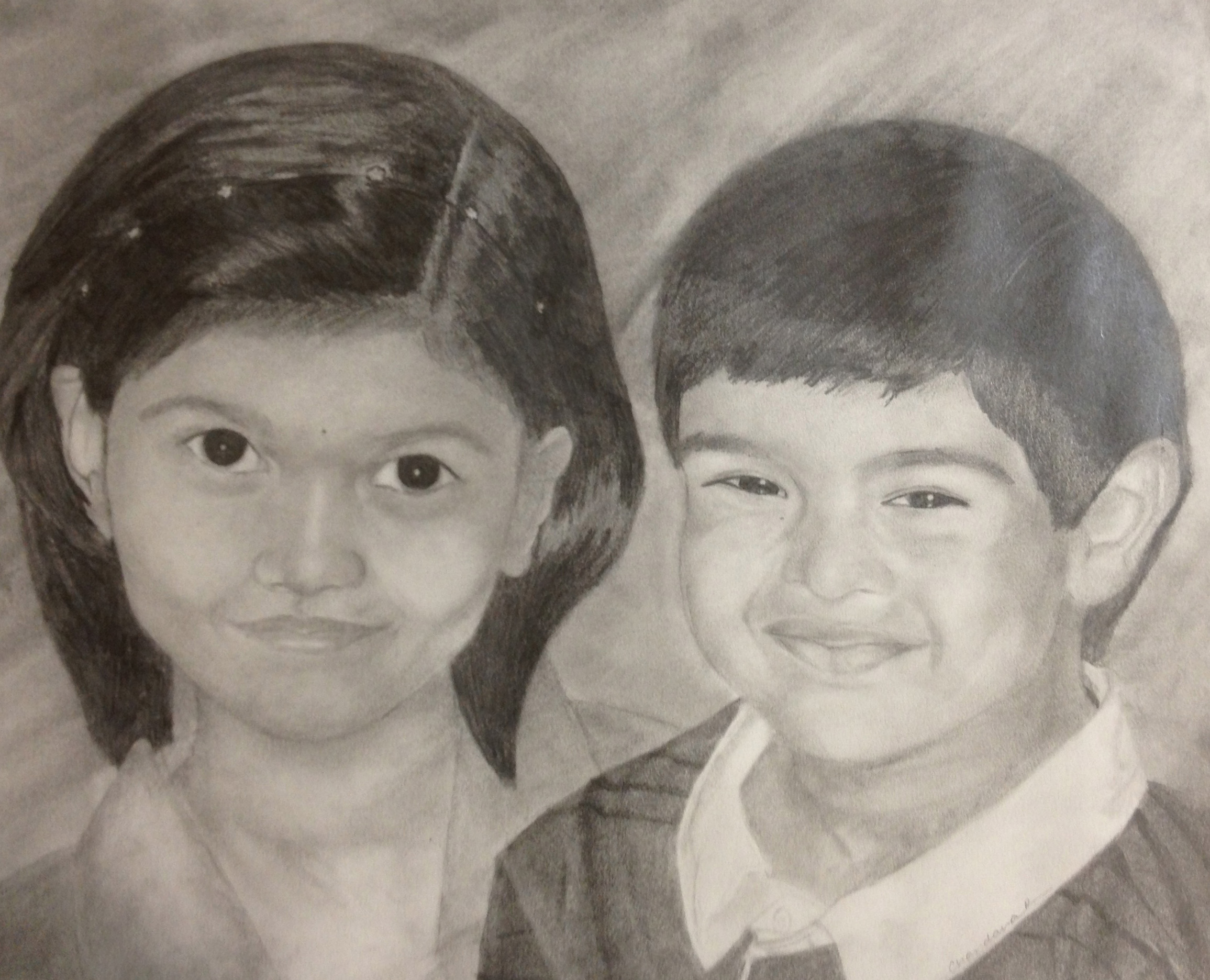 Kids portrait pencil on paper
