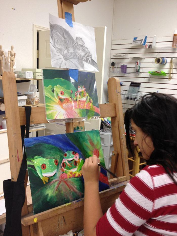 Teen student at art plus academy in Austin and Cedar Park