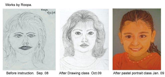 Adult student's progress in an art class