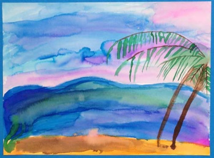 Watercolor Landscape By 7 Years Old Art+Academy Student