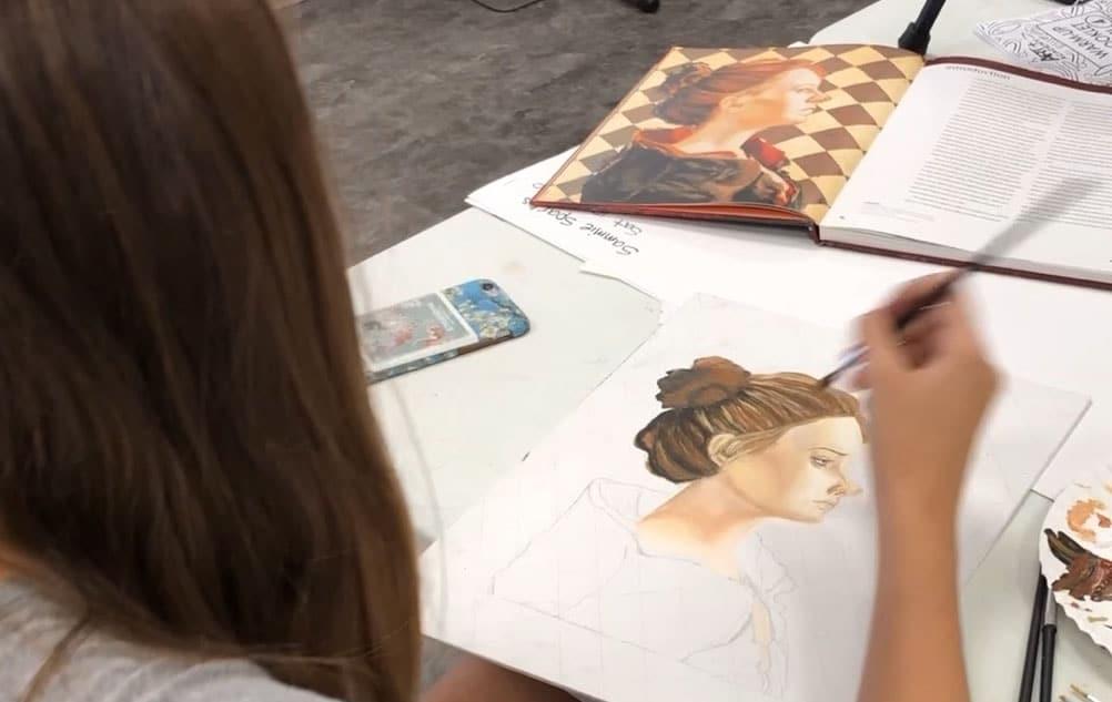 Teen art classes online and in studio